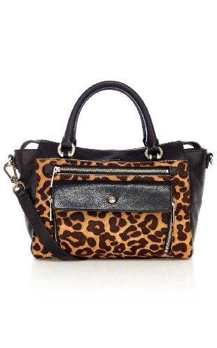 Pocket front leopard box bag