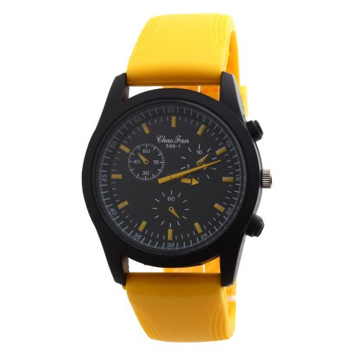 Chaofan Fashion Sport Series Cool Rubber Silicone Band Men Boy Gift Wrist Quartz Watch Yellow