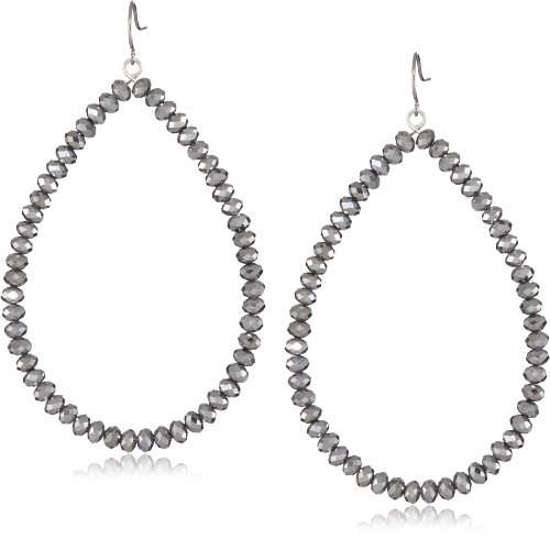 Yochi Hematite Gunmetal Faceted Glass Bead Earrings