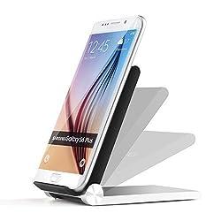 Qi-infinity T900 Folding Qi Wireless Charger Dock for Samsung Galaxy Note 4, S5, S6, S6 Edge Nexus 5, Nexus 7, Nexus 4, Nokia Lumia 1020 920 928, Moto Droid Maxx, Droid Mini - Silver/Black
