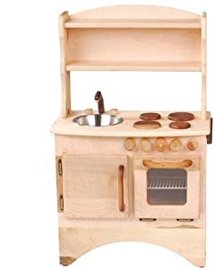 Camden Rose A Simple Hearth (Child's Curly Maple Wood Play Kitchen with Hutch)