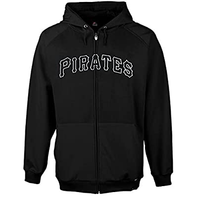Majestic Mens Pittsburgh Pirates Black First Play Full Zip Hoody, Big and Tall