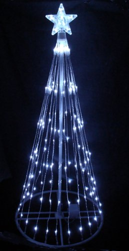 6' Pure White LED Light Show Cone Christmas Tree Lighted Yard Art Decoration