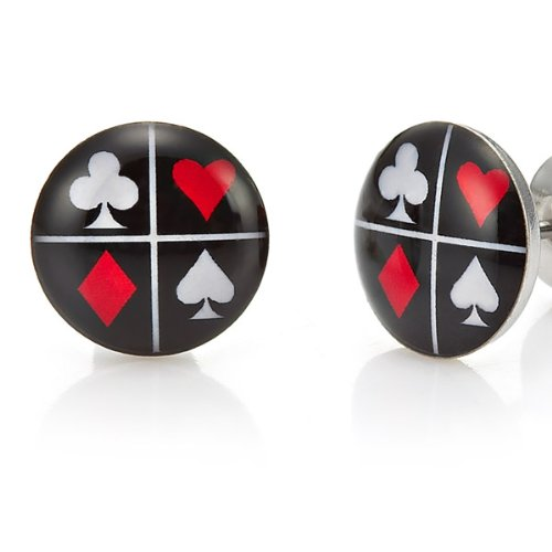 Trendy Stainless Steel Lucky Studs Poker Earrings (Black Red White)
