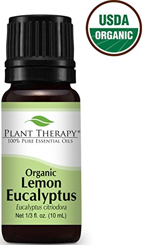 USDA Certified Organic Eucalyptus Lemon Essential Oil. 10 ml (1/3 oz). 100% Pure, Undiluted, Therapeutic Grade.