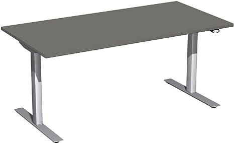 Eléctrico de HUB mesa Altura Regulable, 1600x 800x 680-1160, grafito/plata