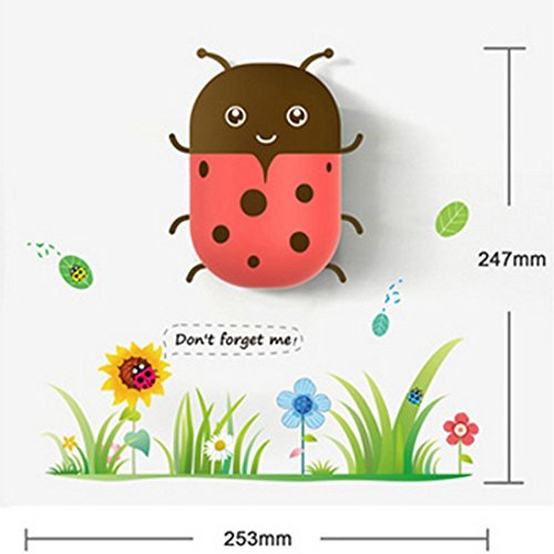 Solla Intelligent 3D Wall Childrens Night Light Cartoon DIY Wall Sticker Cute Art Decal Light Control Lamp for Kids Bedroom Decoration (Ladybugs)