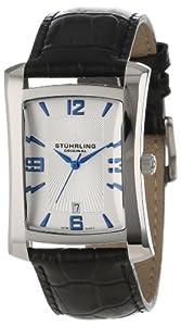 Stuhrling Original Men's 8144AL.32152 Classic Gatsby Swiss Quartz Date Black Leather Strap Watch