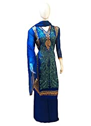 Women's Semi-Stitched Blue Crepe & Georgette Suit with thread embroidery
