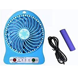 ApeCases Branded POWERFUL RECHARGEABLE USB MINI FAN - PORTABLE COMFORT- Blue