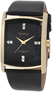 Armitron Men's 204604BKGPBK Swarovski Crystal Accented Gold-Tone Black Leather Strap Watch from Armitron