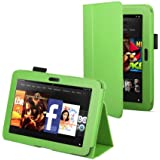 """Green Leather Cover Sleeve Case With Stand and Sleep Mode For Amazon Kindle Fire HD 7"""" (Previous Generation)"""