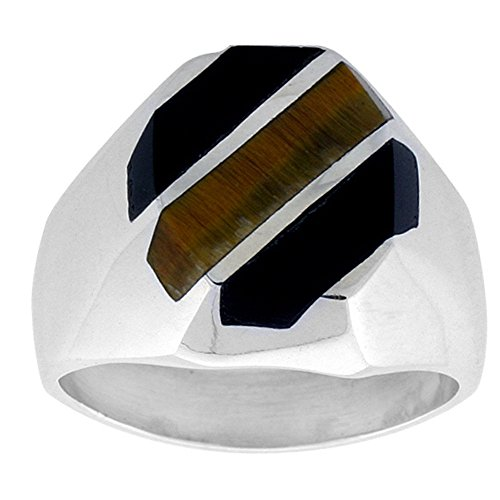 Sterling Silver Black Obsidian & Tiger Eye Ring for Men Octagonal 3 Stripes Solid Back Handmade, size 9