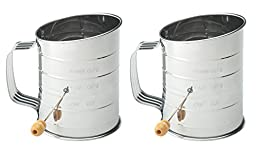 Mrs. Anderson\'s Set of 2 Baking Hand Crank Flour Icing Sugar Sifters, Stainless Steel, 5-Cup