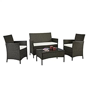 EBS 4 Piece Outdoor Garden Rattan Patio Wicker Furniture Lawn Set White Cushions LoveSeat + Glass Top Coffee Table Sets - Black Finish by EBS