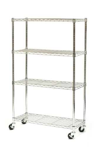 Images for Seville Classics SHE15363 14-Inch by 36-Inch by 54-Inch Dura Style Shelves with Wheels, Chrome