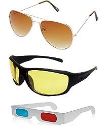 Combo of Blue Aviator Sunglasses + New Style Black Wayfarer Sunglasses + Free 3D Glasses ( Blue Sunglasses ) ( SUN6081 )