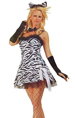 Women LG (8-10) Blk/Wht- Sexy Zebra Babe (Petticoat Included)