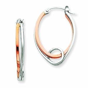 14K Two-tone Oval with Loop Hoop Earrings