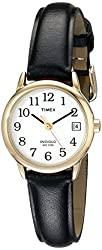 Timex Women's T2H341 Easy Reader Black Leather Strap Watch