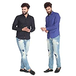 Pelican's Pack Of 2 Black & Blue Slim Fit Casual 100% Cotton Shirt
