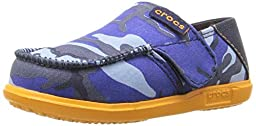 crocs Santa Cruz Camo Loafer Flat (Toddler/Little Kid), Navy/Mango, 10/11 M US Little Kid