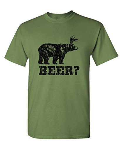 RETRO DEER BEER BEAR - funny frat party Tee Shirt T-Shirt, L, Military (Beer Bear compare prices)