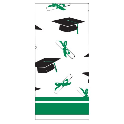 Creative Converting School Colors Paper Art Square Graduation Party Plastic Table Cover, Emerald Green