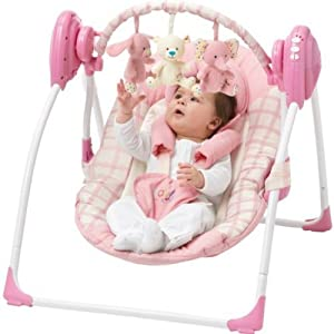 Baby By Chad Valley Deluxe Baby Swing Pink Amazon Co
