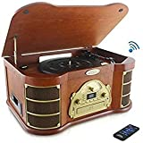 Vintage Wood Style : Pyle PTCD54UB Bluetooth Vintage Classic Style Turntable Speaker System, Built-in CD & Cassette...