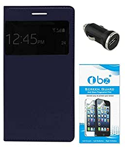 TBZ S-View Flip Cover Case for Samsung Galaxy Grand 2 with Car Charger and Screen Guard -Blue