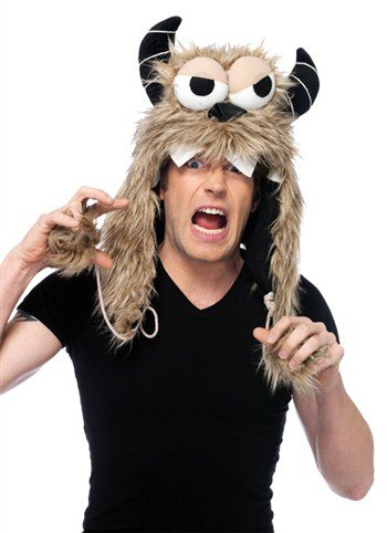 [Leg Avenue Costumes Angry Ed Furry Monster Hood, Brown, One Size] (Mens Monster Costumes)