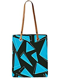 Snoogg Blue Pieces Of Triangle Womens Digitally Printed Utility Tote Bag Handbag Made Of Poly Canvas With Leather...