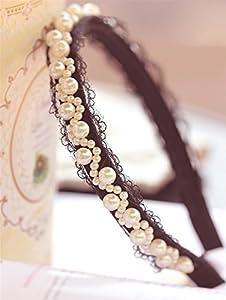 HITOP Retro Griechisch elegant Damen Süß Spitze schönen White Pearl Trauerflor Haarnadel Stirnband Brauthaarschmuck Headwrap Stirnband Stirnschmuck Hochzeit