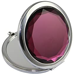 Kolight Double Sides (One Is Normal,Another Is Magnifying)Portable Foldable Pocket Metal Makeup Compact Mirror Woman Cosmetic Mirror (Purple)
