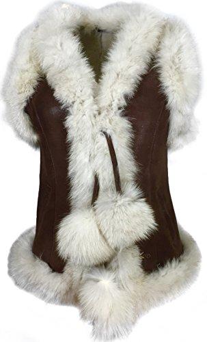 Dudex Damen Wildleder Schafspelz Toskana Leder Jacke Lammfellweste Weste Lammfell Fell Mantel Large Brown White