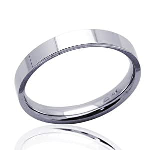 Little Treasures 14 ct White Gold 3MM Wedding Band Flat Plain Ring