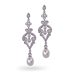 Bling Jewelry CZ Pave Simulated Pearl Bridal Chandelier Earrings Rhodium Plated