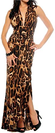 Hot Leopard Halter Evening Gown Sexy Long Maxi Dress, Large