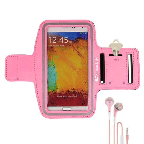 Sumaclife Armband - Gummy Pink Sport Workout Neoprene W/ Key & Earphone Holder For Samsung Galaxy Note 3 & 2 Android Phone + Pink Handsfree Microphone Headphones