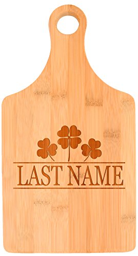 Customized Last Name Irish Clovers Wedding Gift Personalized Paddle Shaped Bamboo Cutting Board
