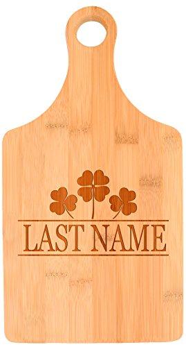 Customized Last Name Irish Clovers Wedding Gift Personalized Paddle Shaped Bamboo Cutting Board
