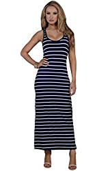 Womens Casual Fitted Striped Scoop Neck Sleeveless Racerback Long Maxi Dress