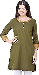 Vedanta Women's Regular Fit Linen Kurta (KALNBR03-Olive-M, Olive, Medium)