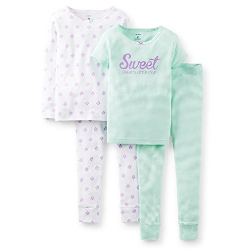 Carter's Baby Girls' 4 Piece Pant PJ Set (Baby) - Sweet Dreams