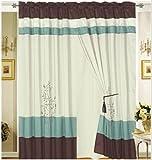 Of aqua blue brown beige embroidery design window curtain drapes