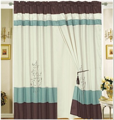 Pair of Aqua Blue Embroidery Windows Curtain Drapes