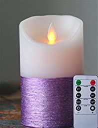 Battery Operated Flameless Moving Wick Wax LED Candle Light with Timer (purple, 36INCH)