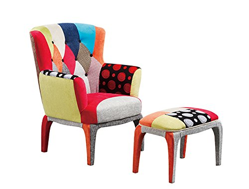 Set POLTRONA e PUFF Design PATCHWORK Colorful Arredamento ESCLUSIVO a prezzi Outlet online