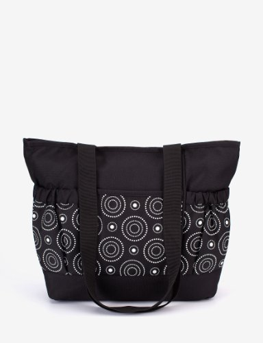 Tender Kisses Circle Diaper Tote Black Whith White Cirles